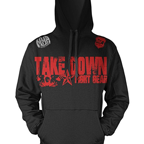 Take Down Skulls Gym Fitness Hooded Jumper Clothing Tapout Wear Fit W Affliction Decal (XL, Black)