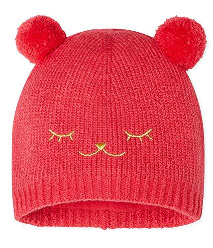 Petit Bateau Gorro con orejas de pompón y cara bordada. rojo 3-6 meses