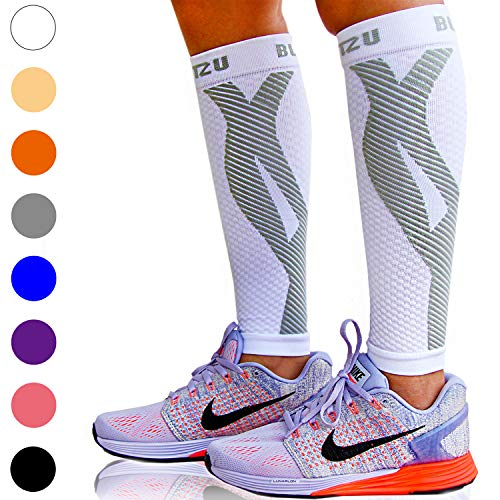 BLITZU Calf Compression Sleeves For Women & Men - Leg Compression Socks for Runners, Shin Splint, Recovery from Injury & Calf Pain Relief - Calf Guard Great for Running, Maternity, Travel, Nurses S/M