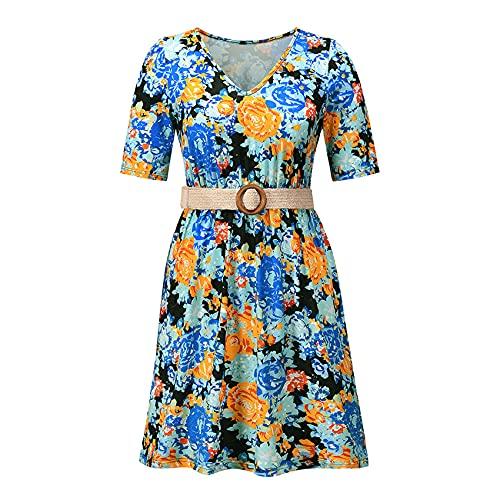 Primavera Y Verano Moda Casual para Mujer Cuello En V Estampado Floral Cintura Cintura Manga Corta Vestido Corto Suelto Mujeres