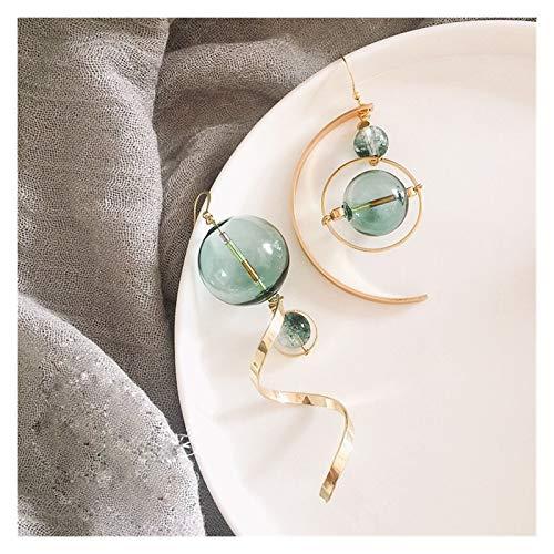 TLBB Moda Verde Burbuja cuelga Pendientes para Las Mujeres Original Mano soplado Vidrio Bola asimétrica Pendientes de Gota Coreanos Largos Pendientes