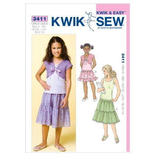 KWIK-SEW PATTERNS K3411 rozmiar bardzo małe 4-5 / małe 6 / średnie 7-8 / duże 10 / bardzo duże 12-14 spódnic górne i bolerko, 1 sztuka, białe