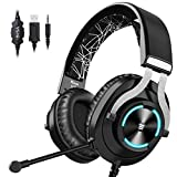 EKSA PS4 Gaming Headset PS4 Headset with Noise Cancelling Mic & RGB Light - Gaming Headphones for PC, Laptop, Xbox One Controller (Adapter Not Included), PS4, Nintendo Switch - 3.5mm Cable