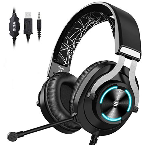 EKSA Gaming Headset PS4 Headset with Noise Cancelling Mic & RGB Light - Gaming Headphones for PC, Laptop, Xbox One Controller (Adapter Not Included), PS4, Nintendo Switch - 3.5mm Cable
