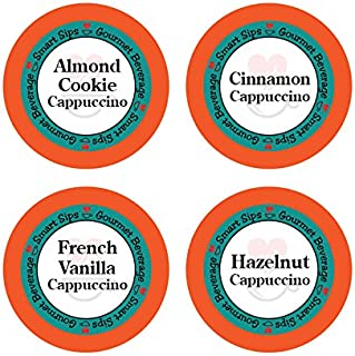 Smart Sips, Gourmet Flavored Cappuccino Variety Sampler Pack - Cinnamon, Hazelnut, Almond Cookie, French Vanilla- 24 Count Compatible With All Keurig K-cup Brewers
