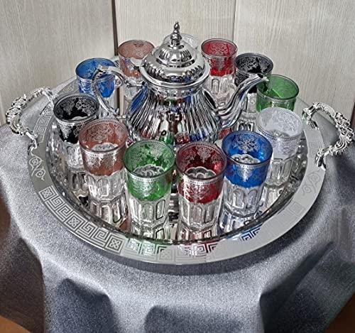 Juego de té marroquí Completo, Tetera con Filtro Integrado 1.6L + Bandeja 54 cm plateada hexagonal con asas de 60cm diámetro y 12 Vasos de cristal multicolor