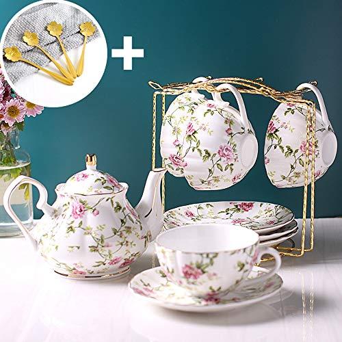 Porcellana di lusso tazza di caffè con manico europeo fiori d'oro Bone China Tea Cups Set Casa Bicchieri (Color : 4 Sets with a bracket)