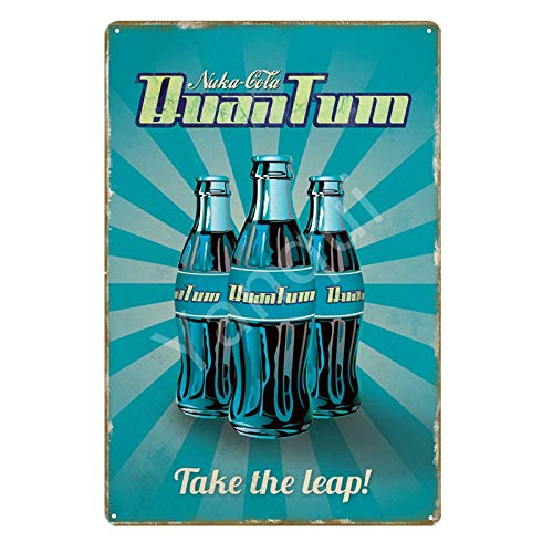 Nuka Cola Quantum Poster Fallout 3 4 Game Metal Signs Wall Plaque Decor for Home Room Shop Hotel Iron Painting Yi-111 20x30cm YB0022AI