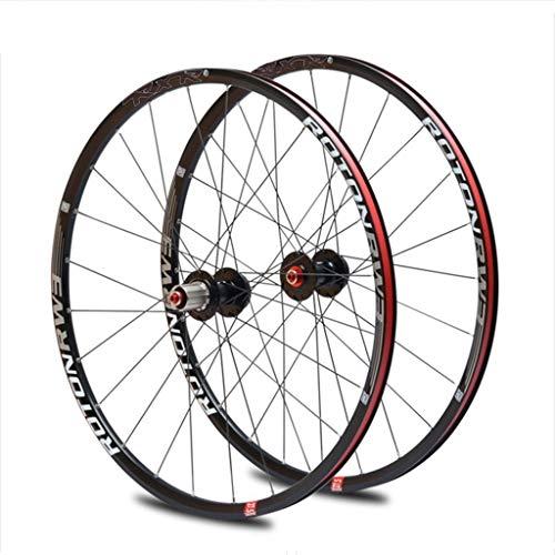 MZPWJD Ciclismo Ruedas Rueda Bicicleta 26'/27.5' / 29' MTB Cassette Hub Juego Ruedas Bicicleta Llanta Aleación Doble Pared Rodamiento Sellado QR 9-11 Velocidad Freno Disco (Color : Black, Size : 26')