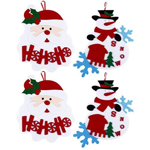 STOBOK 4 Peças de Enfeites de Natal Pingente de Feltro Boneco de Neve de Papai Noel Pendurado Decoração de Pôster para Parede de Natal