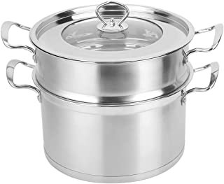 Soup Pasta Pot, Stainless Steel Steam Pot Easy to Use Kitchen Supplies Double Layer Food Soup Pot with Compound Bottom