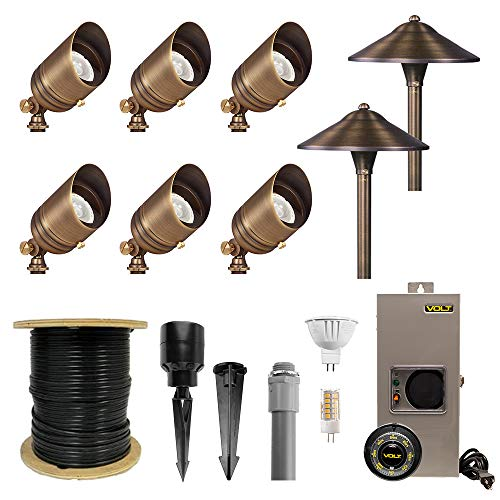 VOLT 6 Spotlight 2 Path Light Complete Kit, Brass