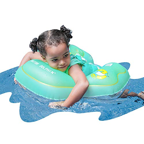 doctor dolphin Baby Inflatable Swim Ring Powder Green Baby Floats Toys Floaties for Toddlers with Trouser Pocket Green