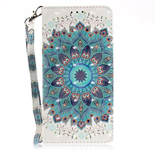 LG Q7/Q7 Plus/Q7 Alpha Magnetverschluss Hülle Leder Flip Hülle Handyhülle Seitlich Klappbares Ledertasche Schutzhülle Etui Tasche mit Standfunktion+Brieftasche+Kartenfach,Handytasche Pfau-Kranz Muster