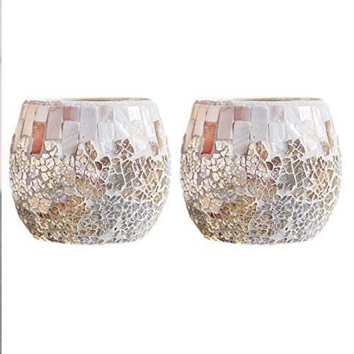Gaetooely 2 Pieces of Shell Light Colored Glass Glass Candle Holder DIY Fragrant Scented Candle Cup Candle Light Dinner