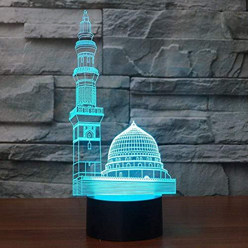 3D Islamisches Schloss Optische Illusions-Lampen, Tolle 7 Farbwechsel Acryl berühren Tabelle Schreibtisch-Nachtlicht mit USB-Kabel für Kinder Schlafzimmer Geburtstagsgeschenke Geschenk