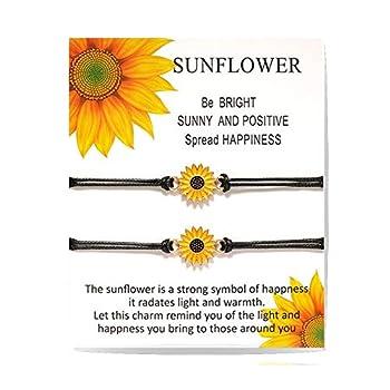 Inscape Data Handmade Sunflower Boho Bracelet Friendship Jewelry for Women Girl 2 Set