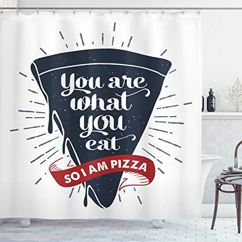 ABAKUHAUS lustige Wörter Duschvorhang, Grunge Pizza Slice, Trendiger Druck Stoff mit 12 Ringen Farbfest Bakterie & Wasser Abweichent, 175 x 200 cm, Dunkelblau rot & grau