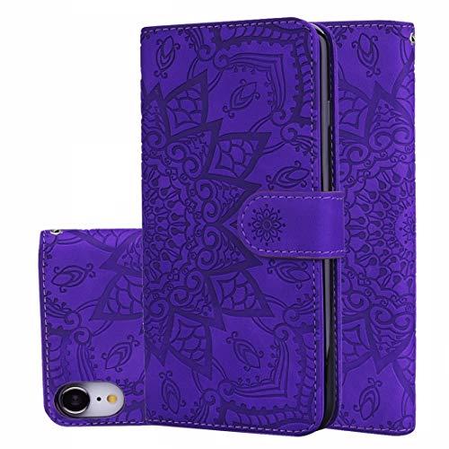 XIXI telefoon kalf patroon dubbel vouwen ontwerp reliëf lederen hoesje met portemonnee & houder & kaartsleuven voor iPhone XR (zwart) volledige bescherming van het lichaam, Paars