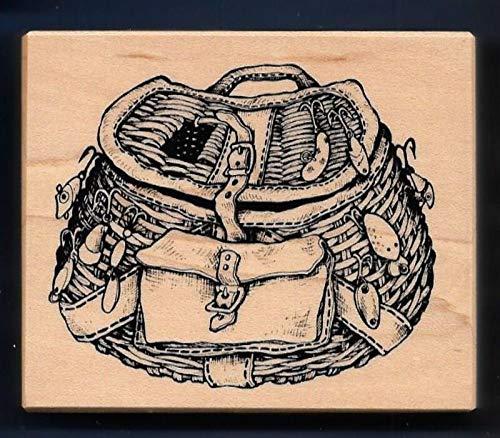 Rubber Stamps Psx Fishing Basket Creel Lures Sporting Goods G-1654 Petaluma Hobby Stamp for Teaching Card Making, DIY Crafts, Scrapbooking