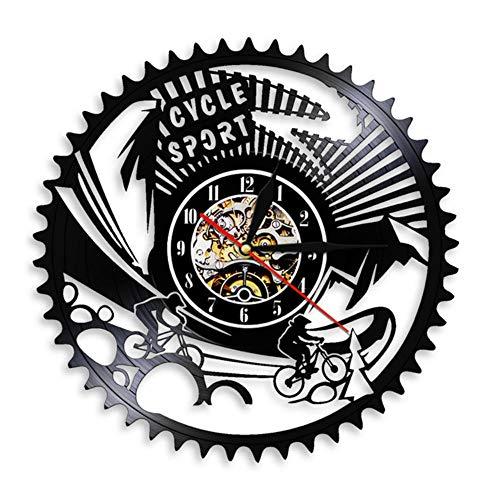 Wangzhongjie Cycle Sport Mountain Bike Wall Art Wall Clock Gears Mountain Biking Vintage Vinyl Record Wall Clock Cycling Bicycle Bikers Gift