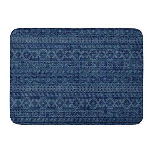Alfombrillas Alfombras de baño Alfombrilla para Exteriores / Interiores Azul Indigo étnico Africano Doodle Tribal Patrón geométrico Ornamental Resumen Tradicional Jeans Vajilla Decoración de baño Alf