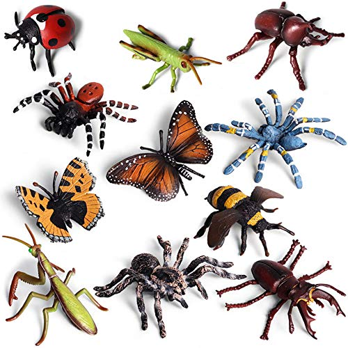 Wildlife Animal Insect Figures Toy  Plastic Educational Toy Fake Bug Figures Realistic Halloween Party Favors School Project Insect Figurines Set with Spiders Butterfly Bee Ladybug Grasshopper Mantis