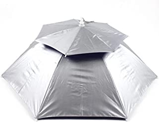 XingKunshop Umbrella Double-Layer Windproof and Breathable Umbrella Cap Outdoor UV Protection Fishing Umbrella Head Wearing Umbrella Summer,Strong Windproof,Outdoor (Color : Silver)