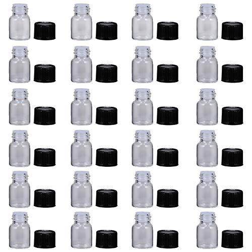 TEHAUX 30 botellas vacías 2 ml botellas de cristal con tapón de rosca transparente mini botellas de muestra, botella de emulsión