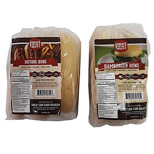 Low Carb Bun Value Bundle - Hog Dog Buns and Hamburger Buns (Great Low Carb Bread Co.)