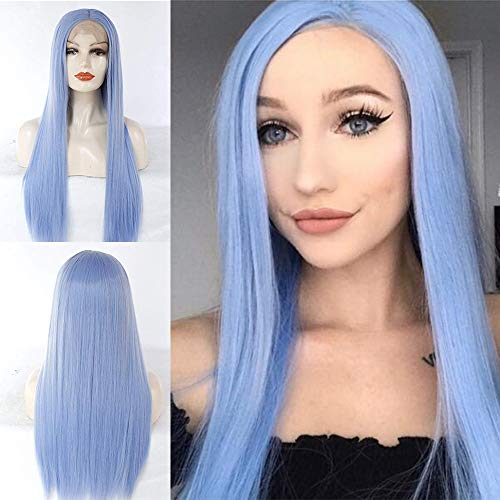 Blauwe lange synthetische lace front pruiken voor vrouwen natuurlijk ogende glanzende blauwe kant pruik met middenscheiding Goede kwaliteit zacht blauw haar pruik met natuurlijke haarlijn zoals