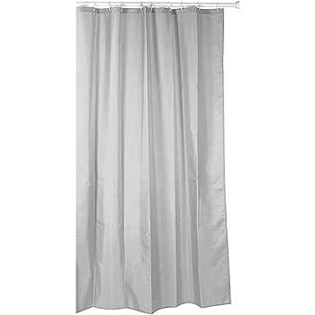Cortina de ducha de tela ((poliéster) 140 x 200 cm uni gris/gris claro impermeable antimoho para lavable/bañera cortina cortina, alta calidad con anillos y peso: Amazon.es: Hogar