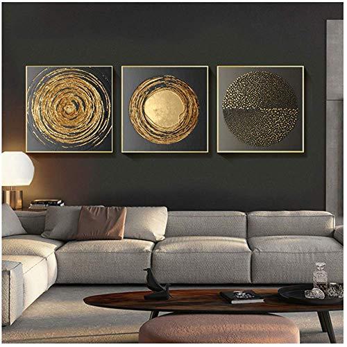 Toile Peinture Abstraite Or Noir Carré Texture Affiches Mur Art Photos pour Salon Décor 70x70 cm Avec cadre Doré