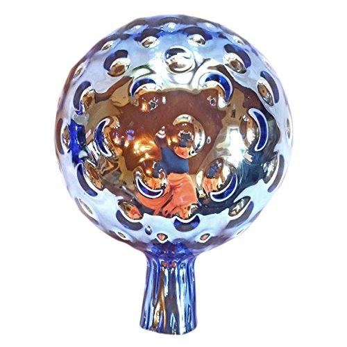 XXL Rosenkugel Hellblau Traubenoptik Höhe 23cm Durchmesser 18cm Rosenkugeln Gartenkugel Handarbeit stabieles Glas verspiegelt und wetterfest (Hellblau)