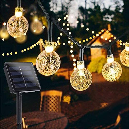 Garden Solar Lights, 50 LED 24ft 8 Modes Waterproof String Lights Outdoor Fairy Lights Globe Crystal Balls Decorative Lighting for Garden Yard Home Party Wedding Christmas Decoration (Warm White)