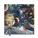 Juego de 6 manteles individuales para mesa de comedor, lavable, antideslizante, perfecto para el uso diario, tapete cuadrado de café o cocina, Space Odyssey