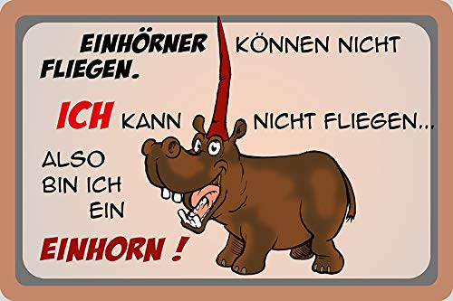 FS eenhoorns kunnen niet vliegen. ik ben een eenhoorn! Metal Sign Metal Sign 20 x 30 cm