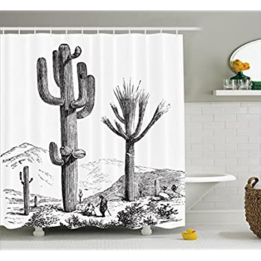 Ambesonne Cactus Decor Shower Curtain, Sketchy Hand Drawn Print of Desert Plants with Mexican Travellers Image, Fabric Bathroom Decor Set with Hooks, 70 Inches, Charcoal Grey