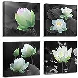 Bathroom Decoration Lotus decoration Canvas printing Bathroom photo wall Decoration Lotus painting black and white flower Plant pictures Zen office decoration Canvas wall Decoration Bedroom Frame