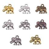 PandaHall Elite 160pcs 8 colores de aleación tibetana Animal Elefante Charms Colgantes Lucky Metal Beads Charms para DIY Pulsera Collar Joyería