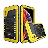 Waterproof Case Compatible with iPhone xs max, Military Grade Drop Tested, Heavy Duty, Full Body, 360 Protective, Shockproof, Drop Proof Cover Built-in Screen Protector for iphone xs max 6.5' (Yellow)