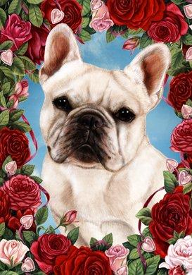 Best of Breed French Bulldog White - Tamara Burnett Valentine Roses Garden Flag
