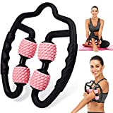 Fesino Muscle Trigger Point Foam Roller Massager,Self Relaxer Roller Sticks Bar Tools for Cellulite Legs/Neck/Arm and Elbow Muscle Deep Tissue Pain Relieve (Pink)