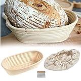 Cestino per la prova del pane ovale in rattan naturale per la casa professionale panettieri cucina torta con panno di lino/raschietto 17 x 12 cm