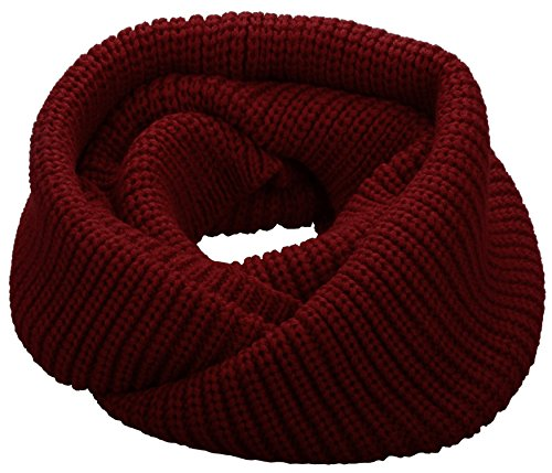 NEOSAN Womens Thick Ribbed Knit Winter Infinity Circle Loop Scarf Burgundy