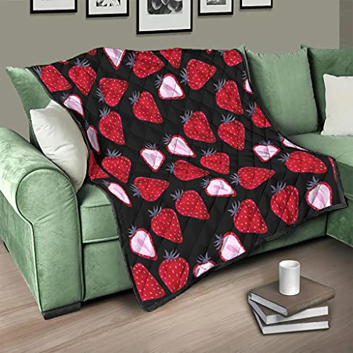 Flowerhome Colcha de fresas y frutas, para cama o sofá, para adultos y niños, color blanco, 130 x 150 cm