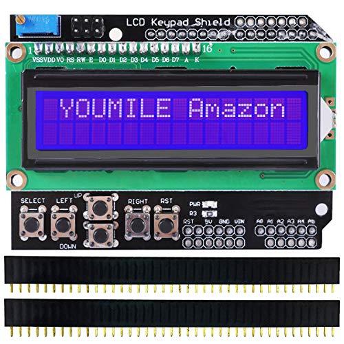 Youmile LCD Keypad Shield LCD1602 Erweiterungskarte Modul Display für Arduino UNO R3 AMEGA2560 Nano Raspberry Pi mit DuPont-Kabel