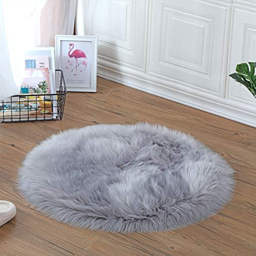 YIHAIC Peau de Mouton synthétique,Cozy Sensation comme véritable Laine Tapis en Fourrure synthétique, Man-Made Luxe Laine Tapis de Canapé Coussin (Gris, 60 x 60cm)