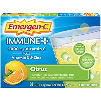 Emergen-C Immune+ 1000mg Vitamin C Powder with Vitamin D Zinc Antioxidants and Electrolytes for Immunity Immune Support Dietary Supplement Citrus Flavor - 30 Count/1 Month Supply