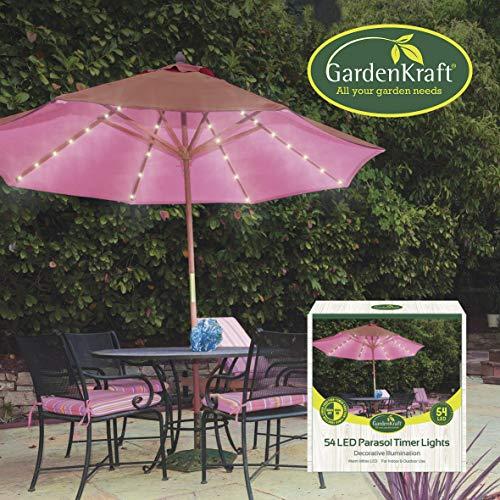 GardenKraft - Faros para sombrilla (54 LED, luz Blanca cálida)